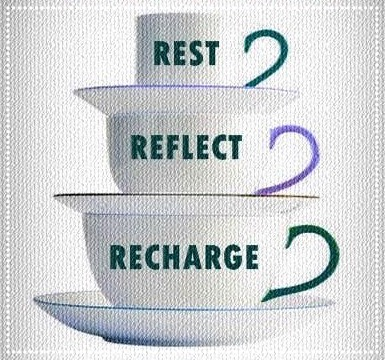three cups that say rest_ reflect and recharge