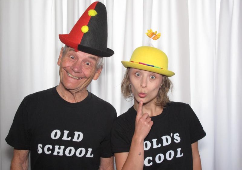 Photo of Becky Fazio and Bert Houle posing in _Old School_ and _Old_s Cool_ tee shirts