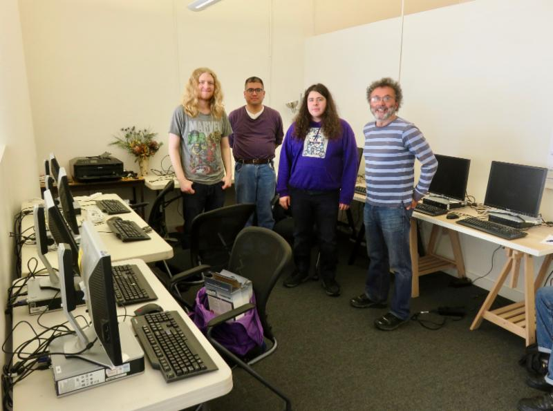 volunteers in the new computer lab