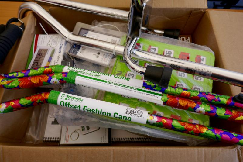 box of accessibility supplies