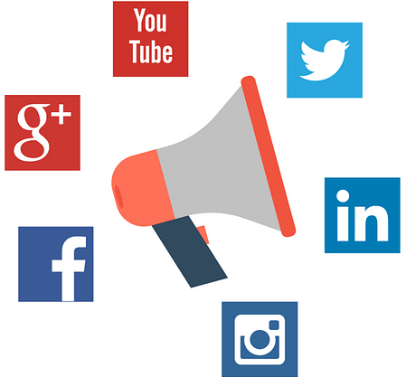 Megaphone surrounded by social media icons