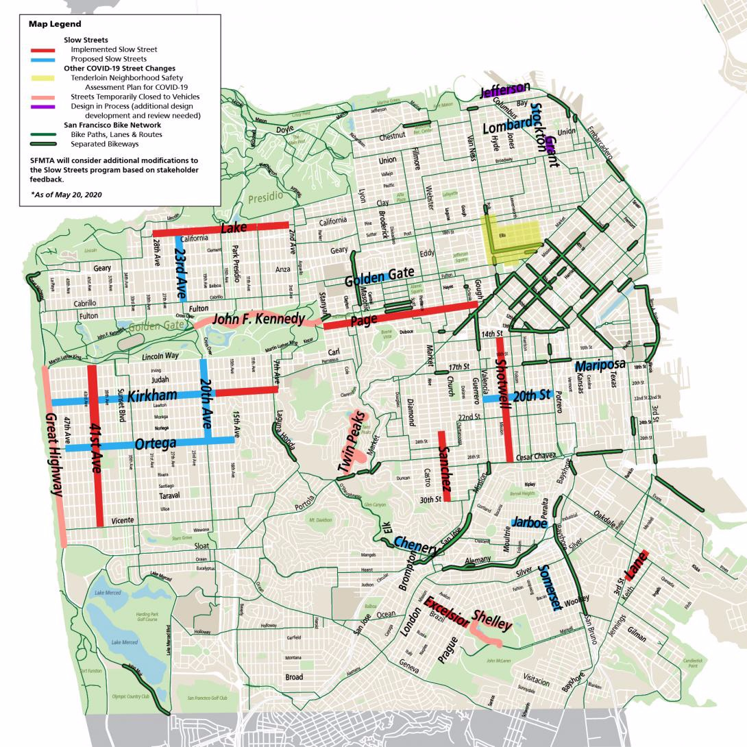map of slow streets