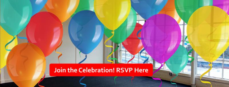 Photo of new office overlaid with balloons and a button to RSVP