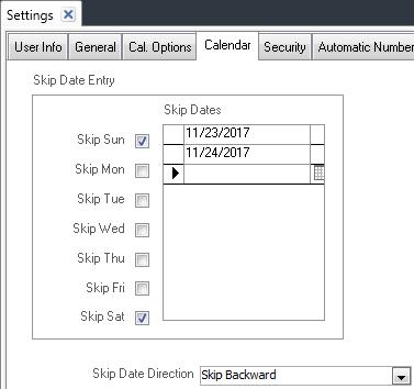 Settings Calendar Tab
