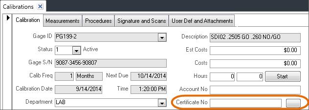 certificate number field