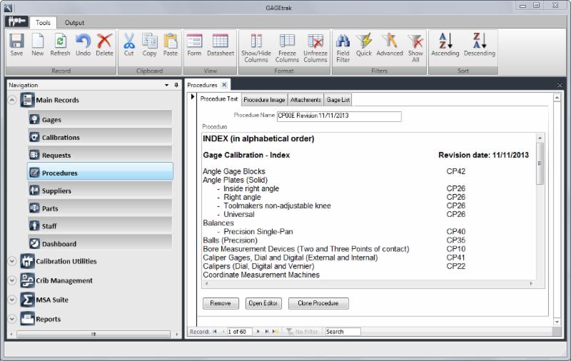 GAGEtrak Procedures screenshot