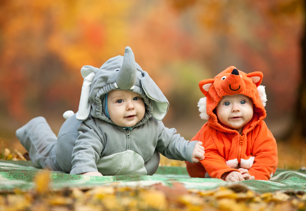 babies in costumes in the fall