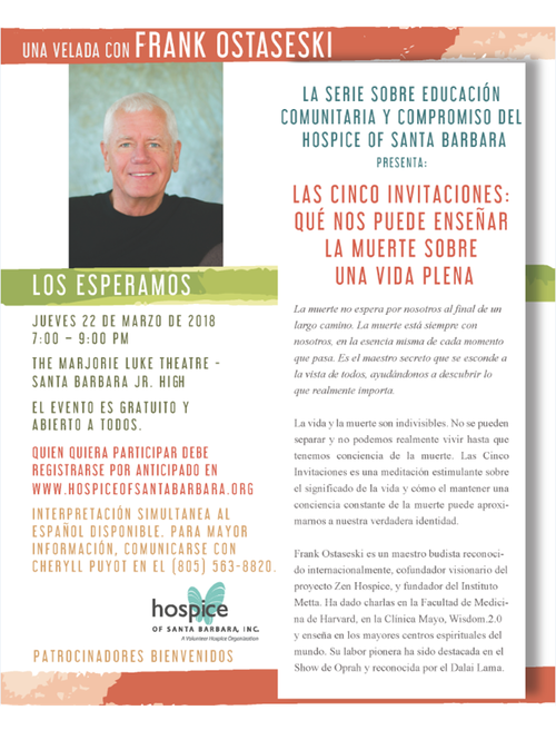 five invitations: what the dying teach the living event flyer in spanish