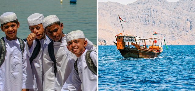 [Left] Potential Omani leaders of tomorrow – schoolboys, their book bags strapped to their backs, returning home from a day's study in Qumzar, a small seaside village tucked into a cove adjacent to the Hormuz Strait. [Right] A traditional Arab sailing dhow, fashioned from wood and crafted by hand in the manner of Omani shipwrights and mariners of yesteryear, plies the sea in and out of the Hormuz Strait, the world's most strategically vital waterway.