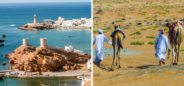 [Left] The Indian Ocean port of Sur, home to many craftsmen of Oman's traditional wooden sailing dhows and its merchant captains of the sea who still sail to and from the Gulf, Africa, and lands east. [Right] Omani Bedouin cameleers traverse the eastern reaches of the Rub' Al-Khali (Empty Quarter), the world's largest desert.
