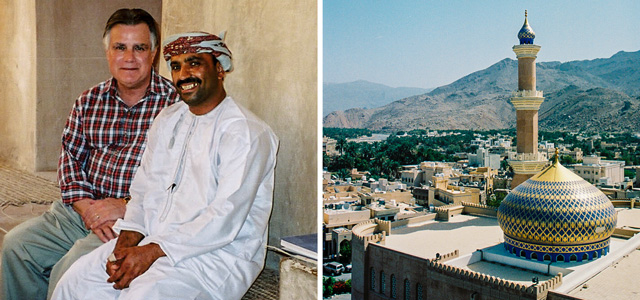 [Left] Dr. John Duke Anthony and his longtime friend, Hamad Al-Rabbani, Chief Curator of Jabrin Fort and Castle, one of Oman's most famous historical architectural landmarks in the country's interior. [Right] A panoramic view from atop the centuries-old fort adjacent to the Grand Mosque in Nizwa, historical capital of the former Imamate of Oman located deep in the Sultanate's interior.