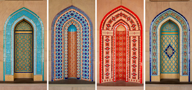 Inlaid Islamic niches at the Grand Mosque in Oman's Capital Territory.