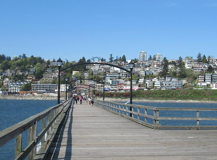 view of White Rock from the end of a pier