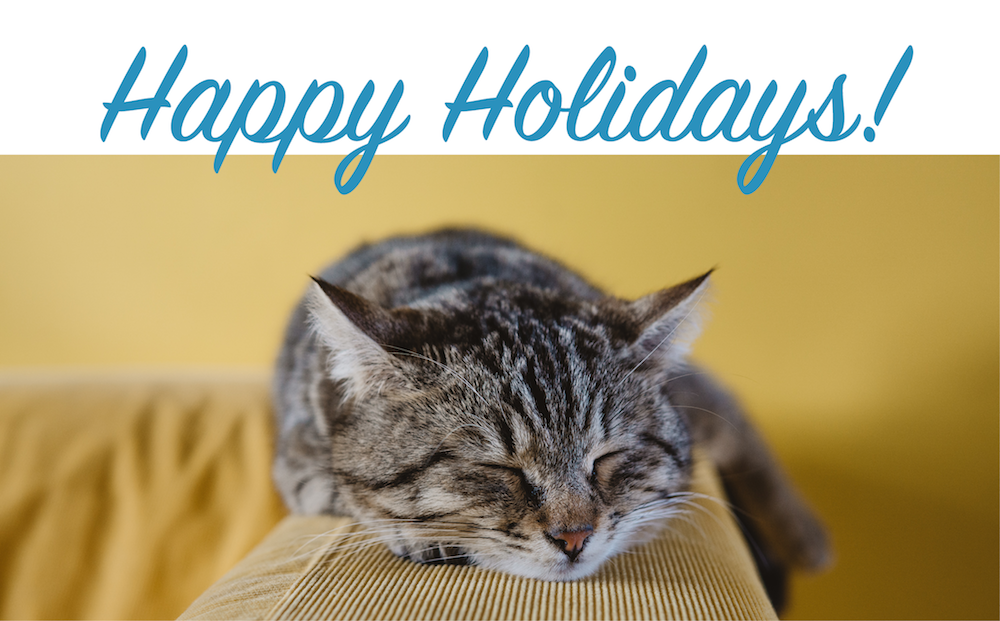 Image of a cat sleeping and the words Happy Holidays!