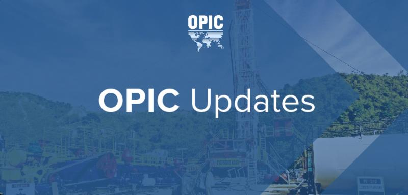 OPIC Updates banner for June 2018, photo of oil drilling equipment