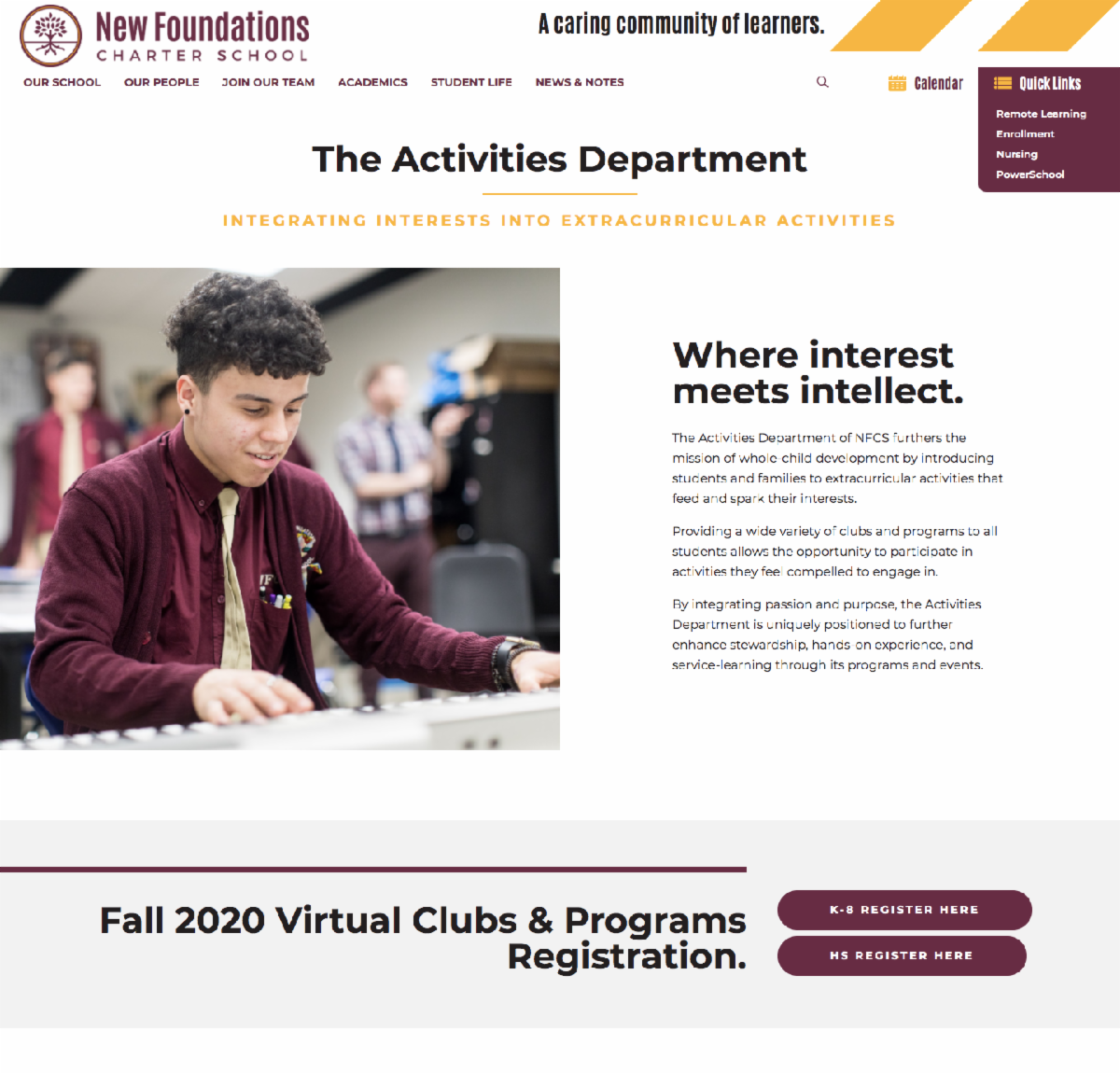 Image of the NFCS Student Life- Activities webpage