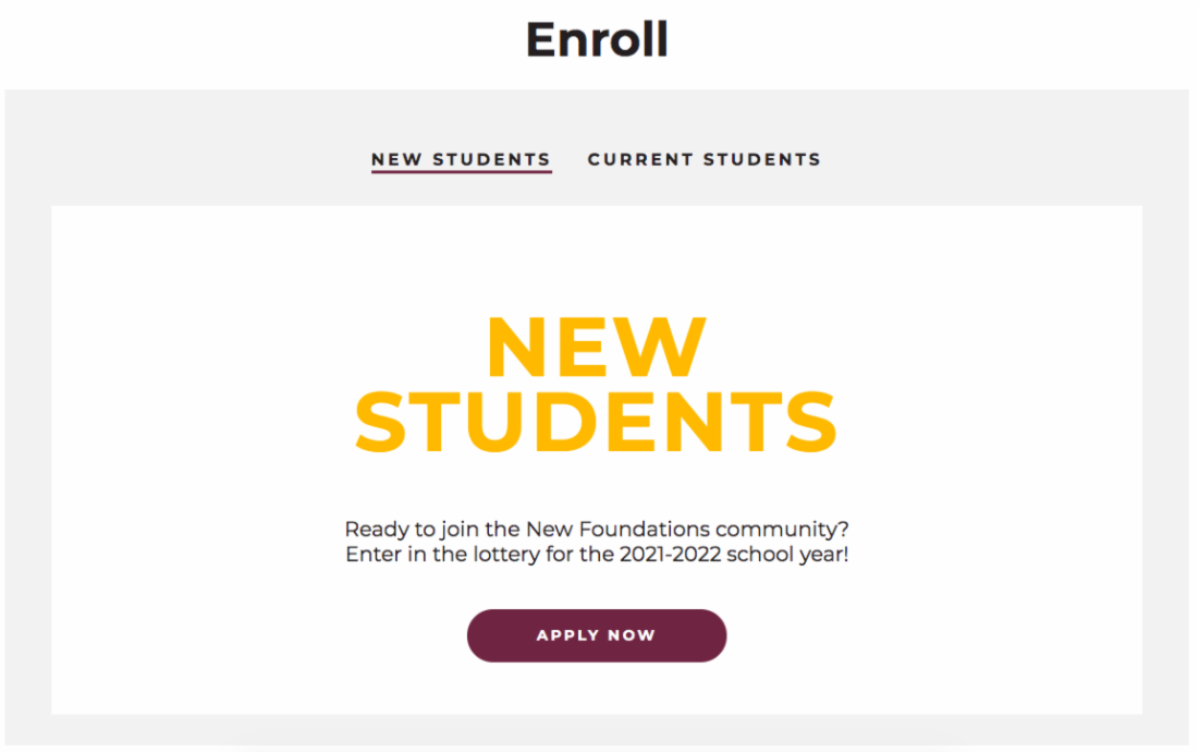 Image of the enrollment page that is on our website.