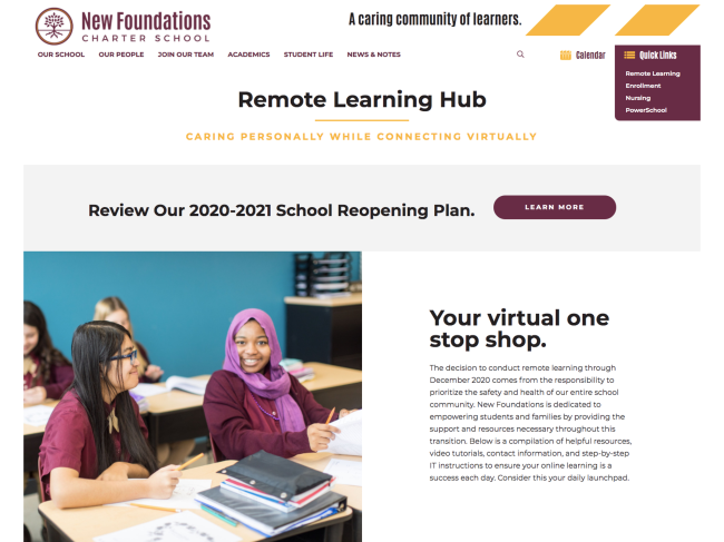 Picture of remote learning webpage