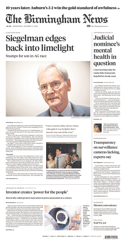 Daily News Digest - October 3, 2018 | Alabama Daily News