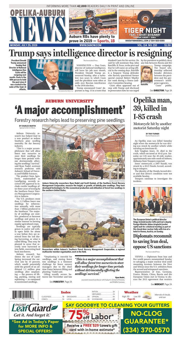 Daily News Digest - July 29, 2019 | Alabama Daily News