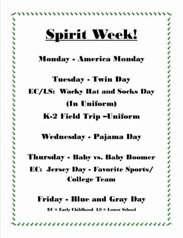 Sunday Knightly News Spirit Week Themes Listed