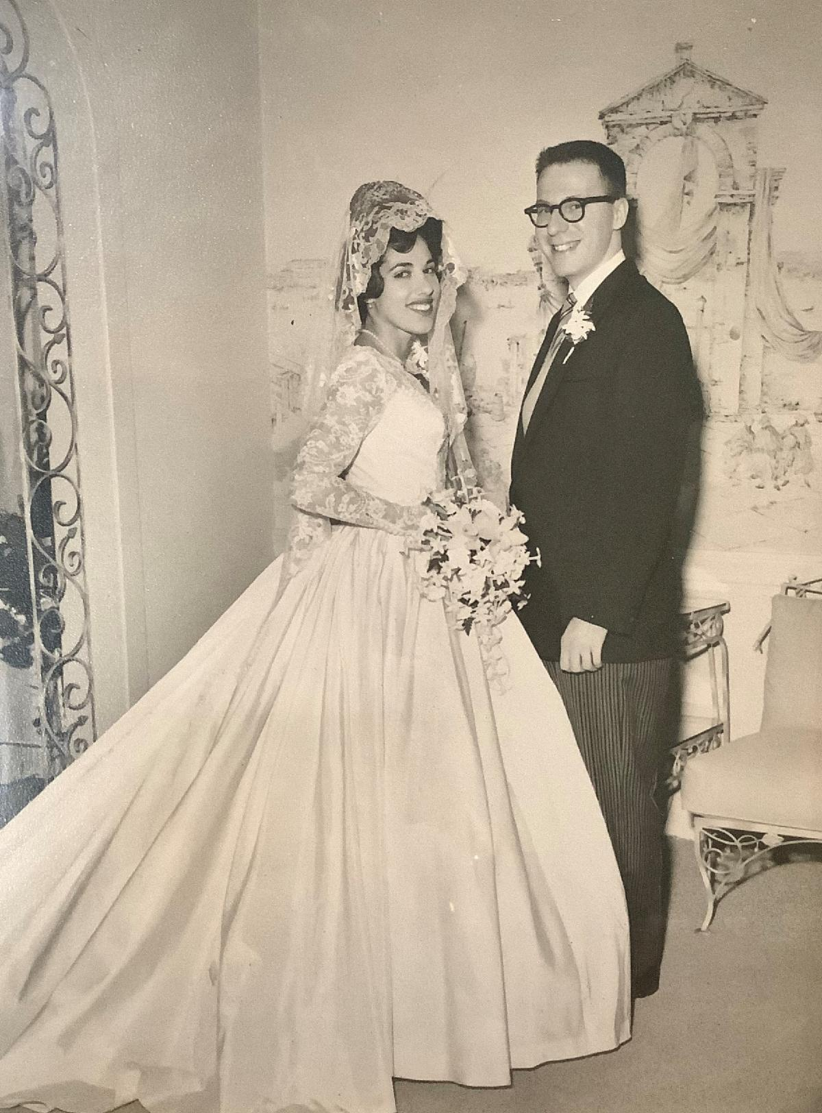 Image: A photo of Saul and Susan Bloostein on their wedding day in September 1961.