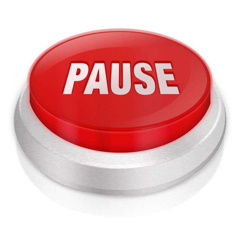 3d rendered illustration of the word pause on a white background with reflection