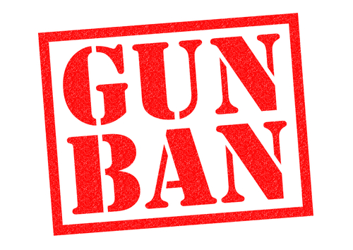 GUN BAN red Rubber Stamp over a white background.