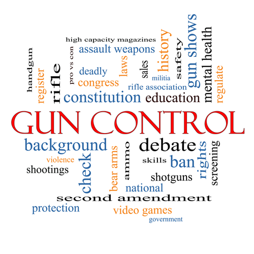 Gun Control Word Cloud Concept with great terms such as second_ amendment_ right_ bear_ arms_ violence and more.
