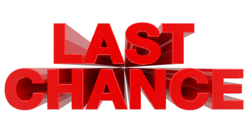 LAST CHANCE word on white background 3d rendering