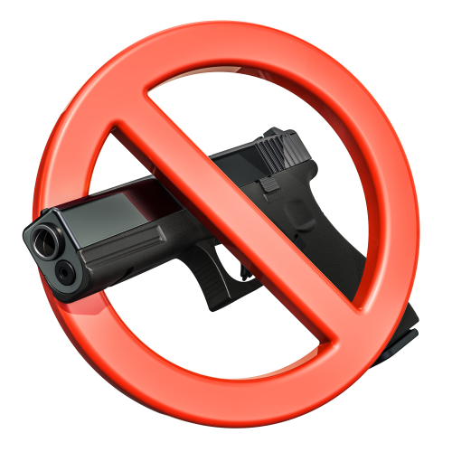 Gun_ pistol inside forbidden sign_ 3D rendering isolated on white background