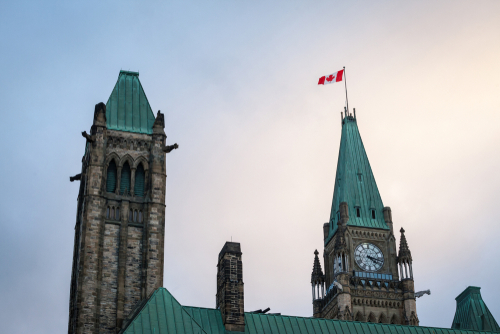 Main tower of the center block of the Parliament of Canada_ in the Canadian Parliamentary complex of Ottawa_ Ontario. It is a major landmark_  containing the Senate and the house of commons