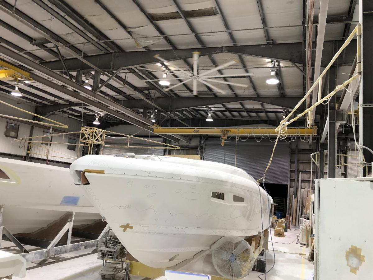 inside the Intrepid Powerboats factory