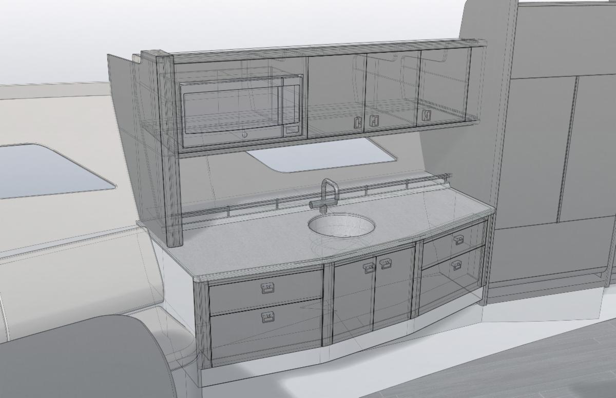 477 Evolution cabin layout with sink and hull side window