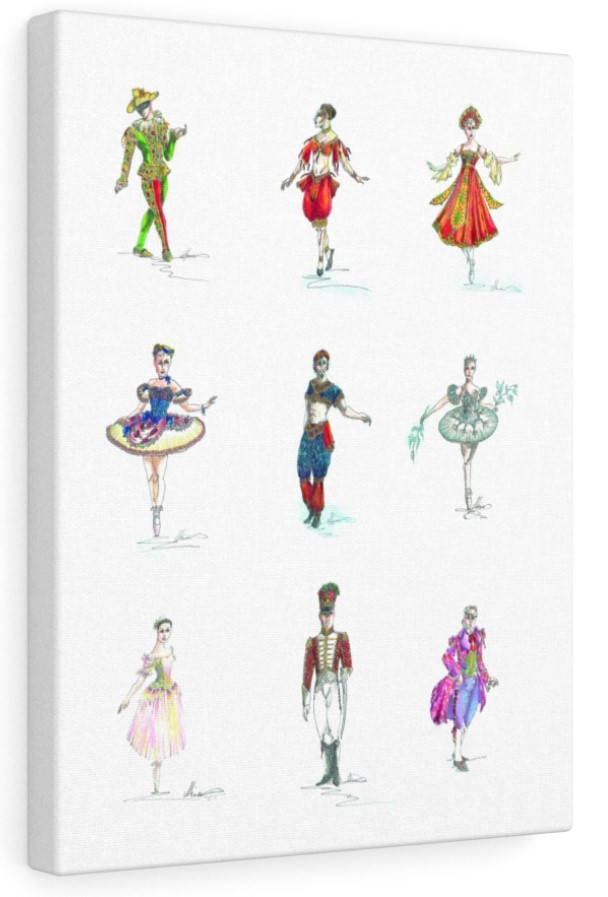 Moscow Ballet's Great Russian Nutcracker Costume Design Sketch Canvas