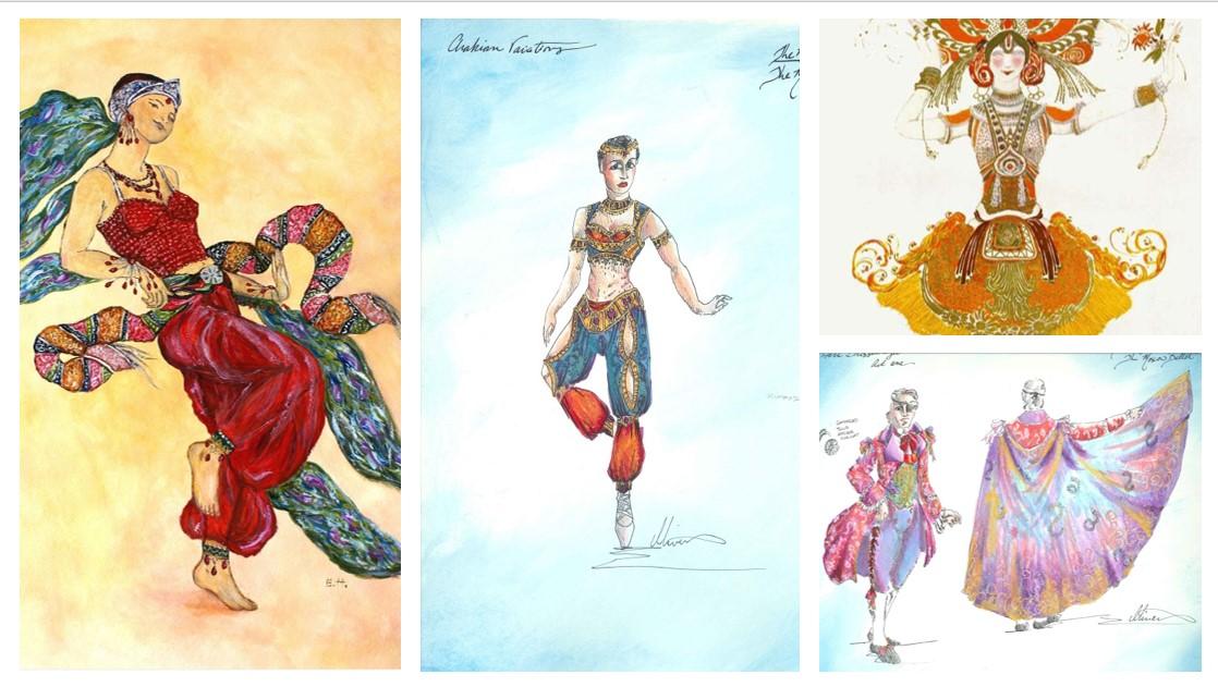 Compare Leon Bakst's & Moscow Ballet's Arthur Oliver's Costume Design Sketches