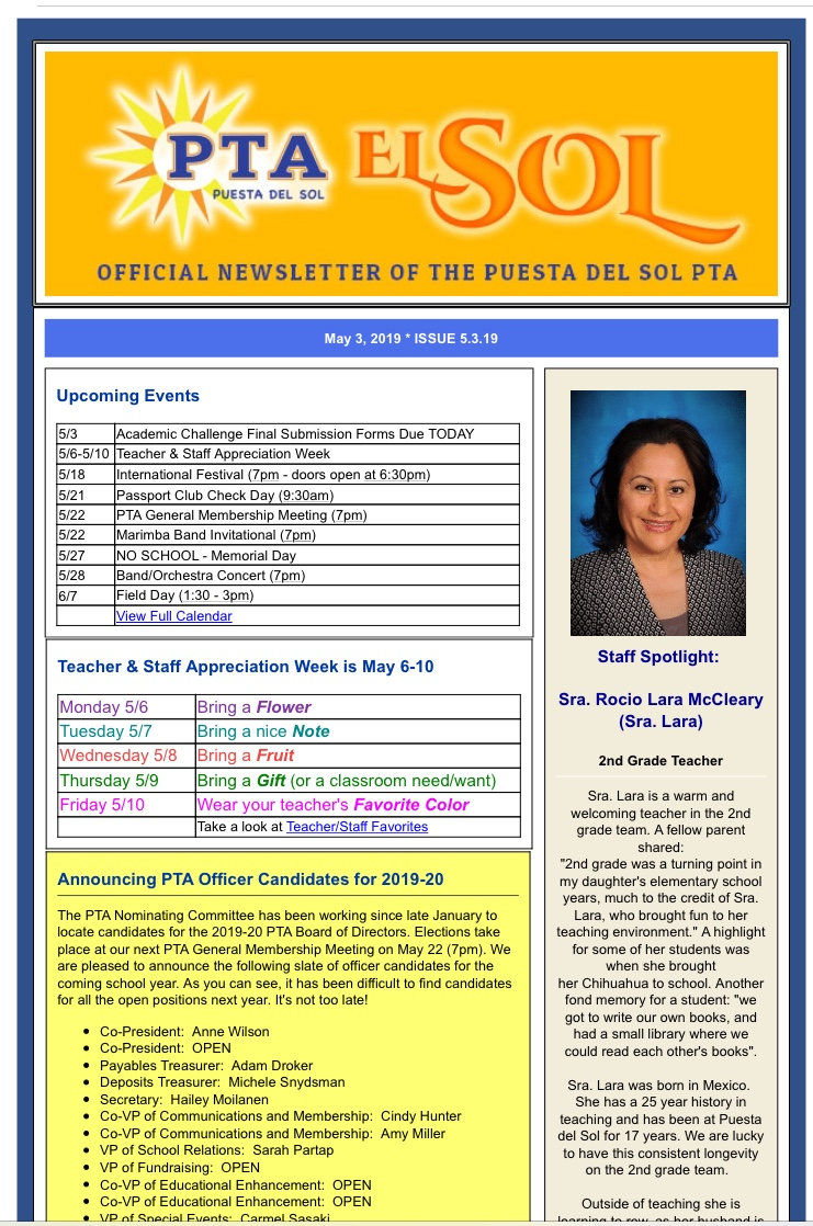 El Sol Newsletter