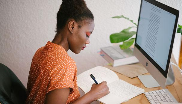 African American woman studying