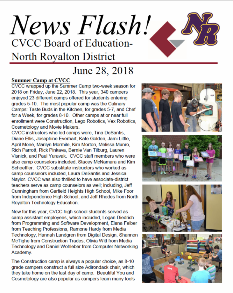 Monthly News Update from North Royalton City Schools - July 2018