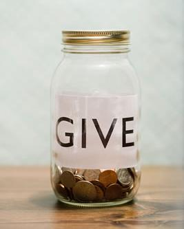 photo of jar to collect donations