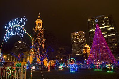 Holiday lights in Cathedral Square