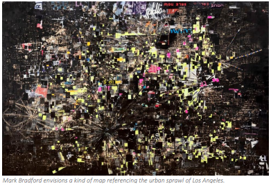 Mark Bradford envisions a kind of map referencing the urban sprawl of Los Angeles
