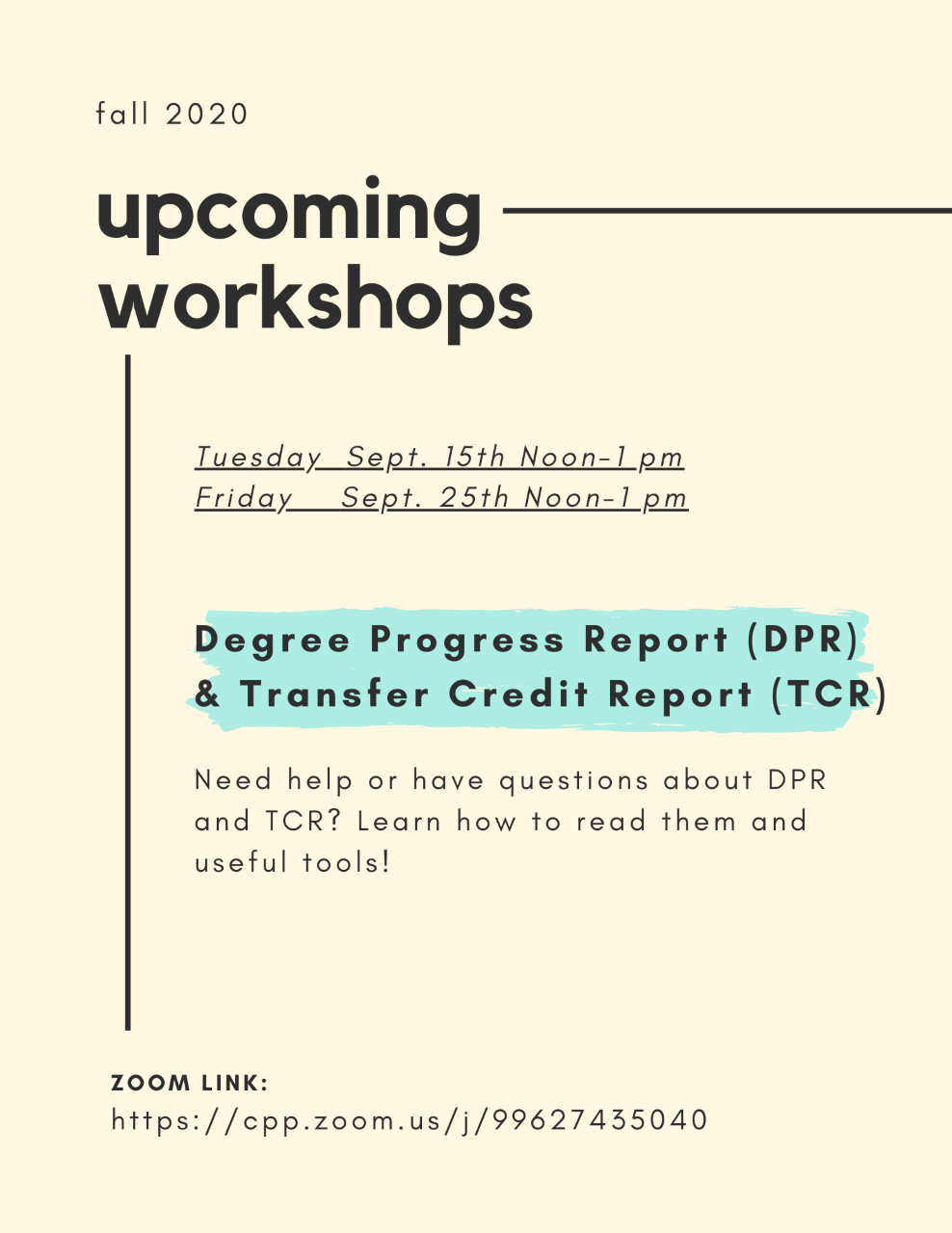 env student success workshop flyer for dpr and tcr workshops