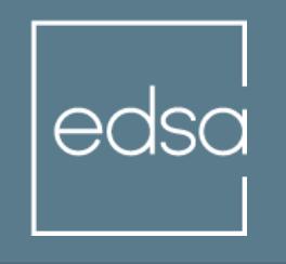 EDSA logo white text on dark green background