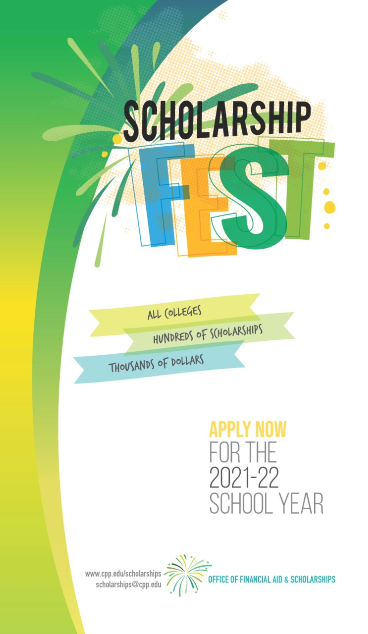 cpp scholarship fest vertical flyer with deadline dates for 2021 2022