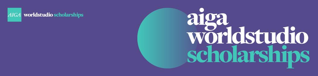 AIGA WorldStudio Scholarships teal sphere on purple background