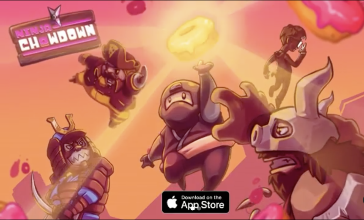 Ninja Chowdown app game designed by lenny lam graphic design 2018 alum