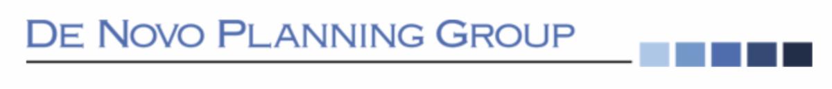 De Novo Planning Group horizontal logo blue text
