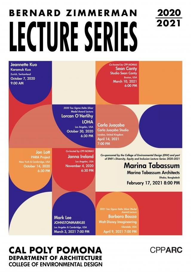 Bernard Zimmerman Lecture Series CPPARC poster with guest lecturer dates and times