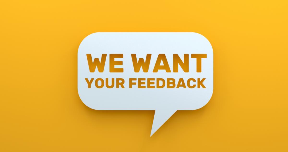 word bubble requesting feedback
